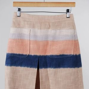 Tory Burch Tweed Stripe Cotton Blend Pleated Skirt